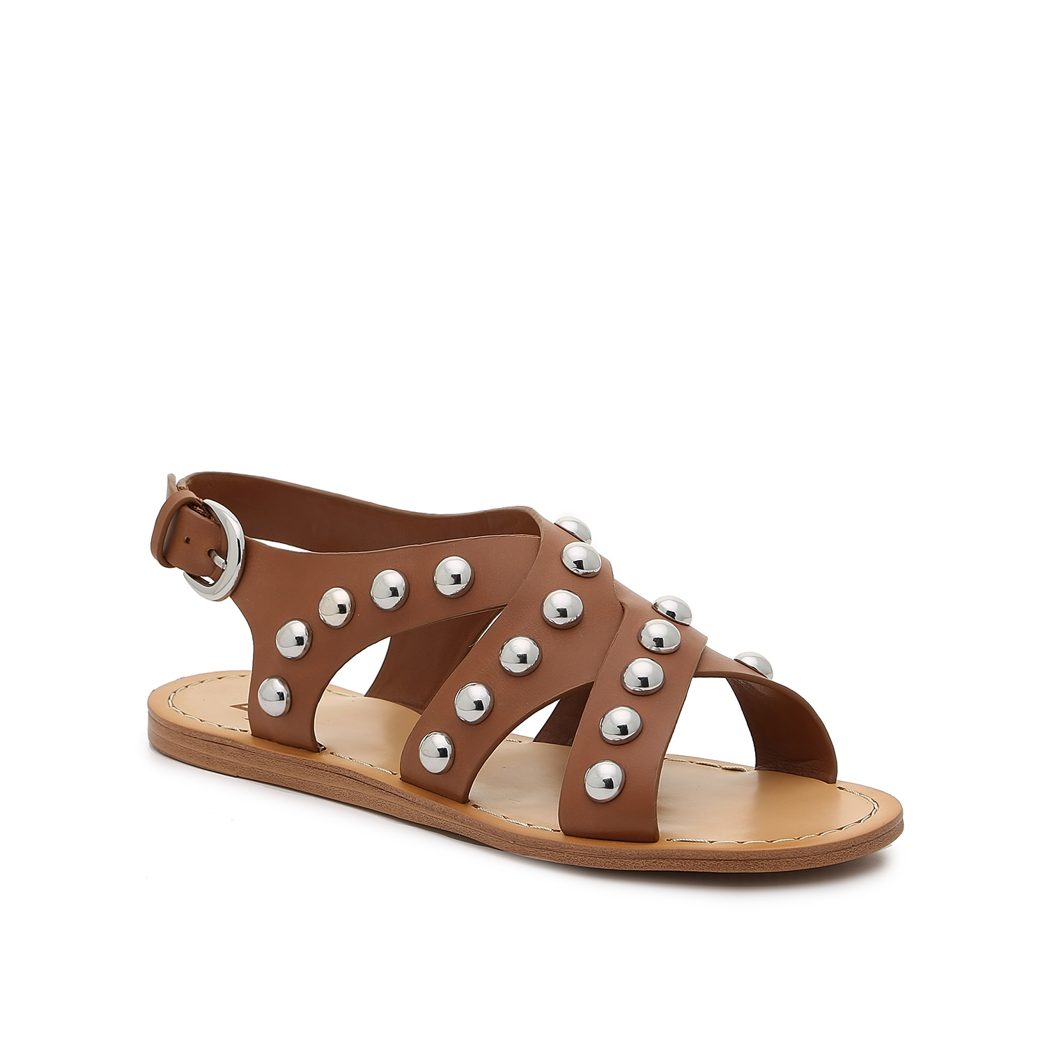 Interwoven straps and metallic ornaments define the Prancer flats from Marc Fisher Ltd. An ankle cuff holds this sandal in place for an easy-going fit.
