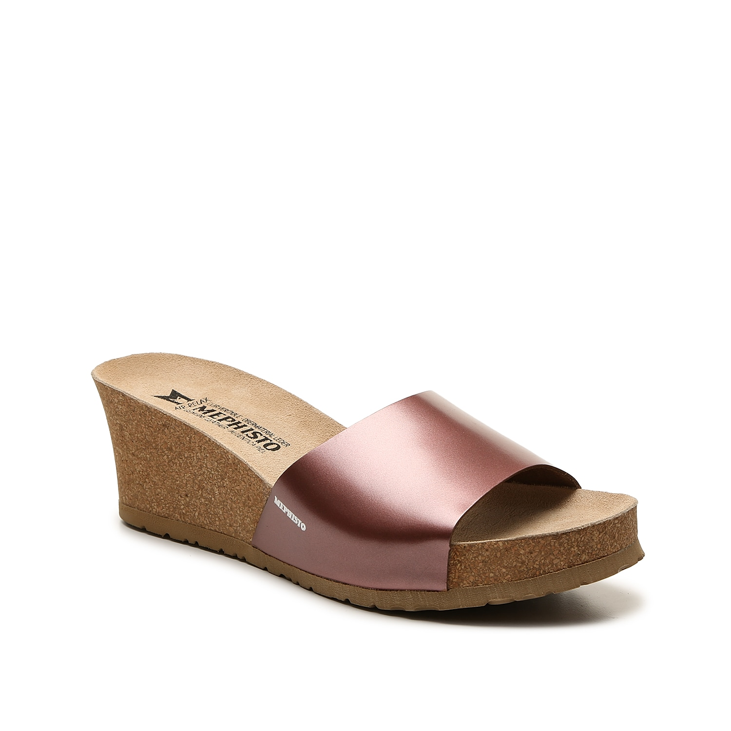 Take comfortable struts with the Lise wedge sandal from Mephisto. This silhouette is fashioned with a metallic leather upper and genuine leather footbed that allows you to walk around with ease.