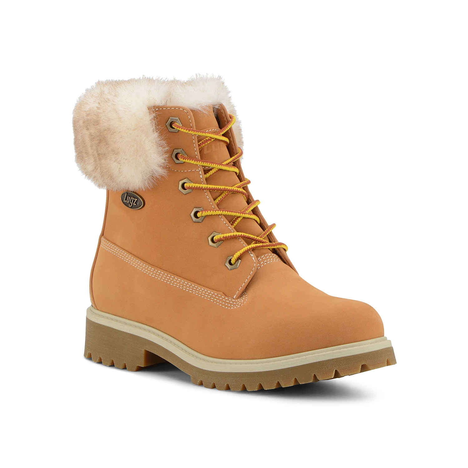 Add a feminine twist to the original Convoy boot from Lugz. This lace-up pair features a faux fur collar and a block heel for added height! Click here for Boot Measuring Guide.
