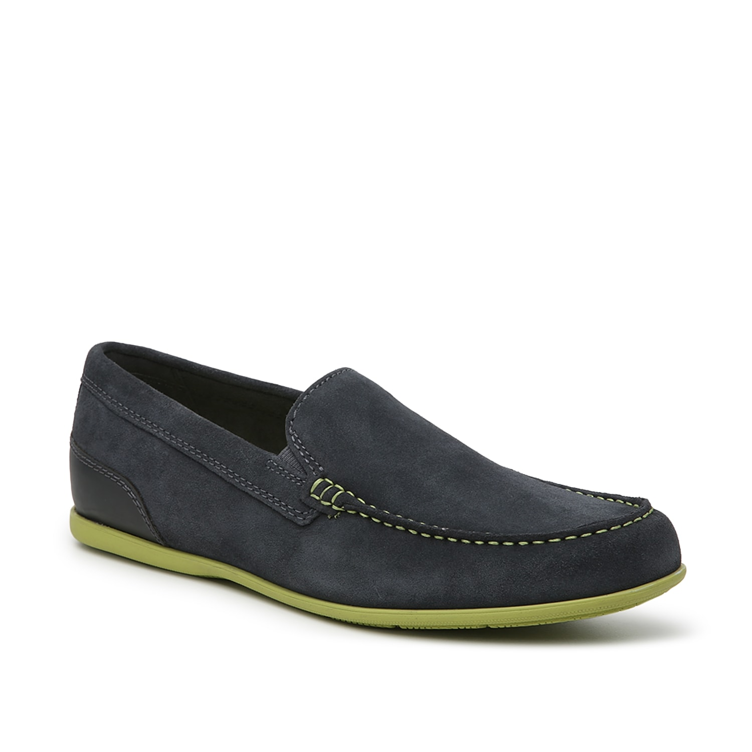 Sleek and modern, the Malcolm Venetian slip-on from Rockport cuts a cool profile with an ultra-slim sole and streamlined design. Treated suede resists damage caused by water staining.