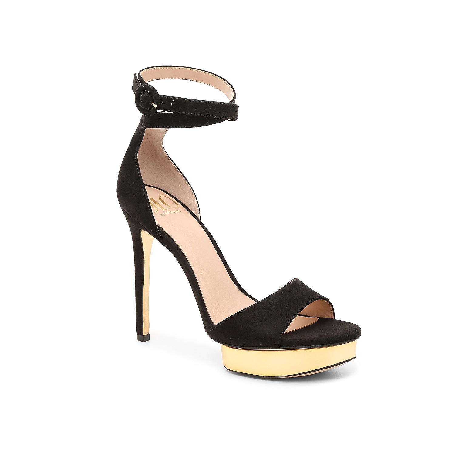Glam metallic and a towering heel make these JLO Jennifer Lopez sandals the can\\\'t-miss pair in your night-out lineup. The Malika wraps at the ankle for sultry strapping and is detailed with a circular buckle in matching tones.
