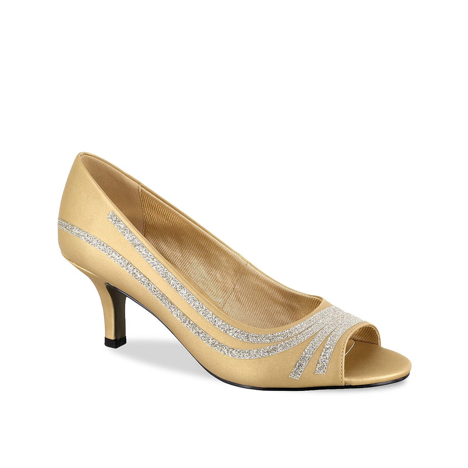 Keep moving in fabulous style with the Lady pump from Easy Street. This classic silhouette is fashioned with glitter accents and a cushioned footbed for all the comfort!