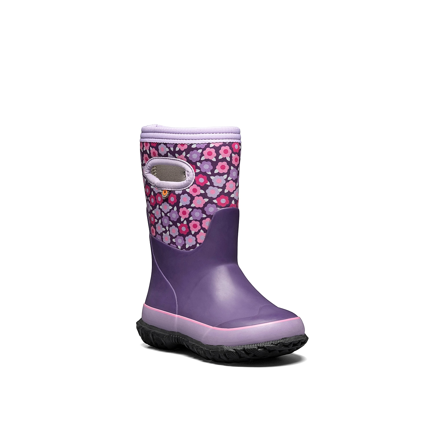 She\\\'ll love to add some color to a gloomy day with the Grasp rain boot from Bogs. This waterproof boot showcases floral-printed shaft panel for an eye-catching look and convenient pull handles at the top.Not sure which size to order? Clickhereto check out our Kids' Measuring Guide! For more helpful tips and sizing FAQs, clickhere.