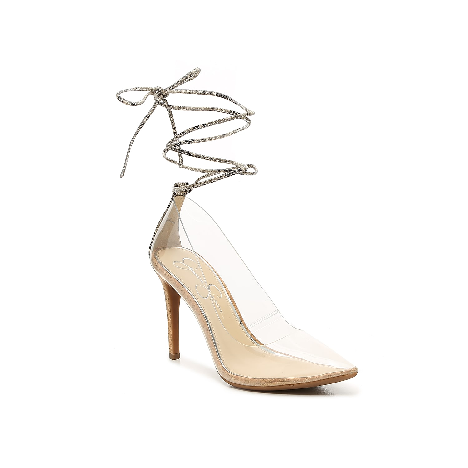 The Harleen pump from Jessica Simpson gives the iconic silhouette a refreshing take with see-through lucite, pops of pattern, and a lacy ankle-tie closure. The pointed illusion toe reveals your latest pedicure!