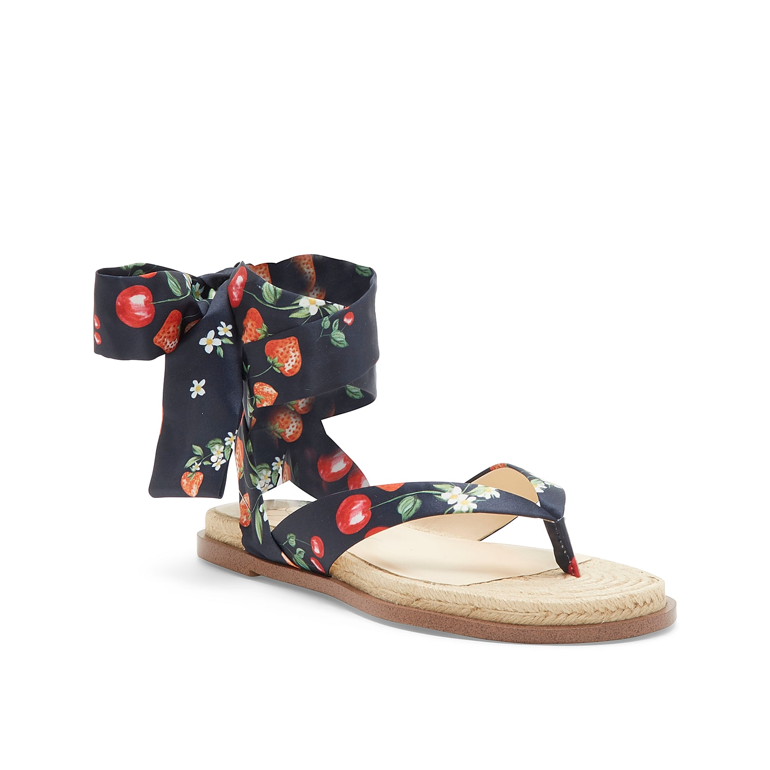 Add a playful look to your warm weather shoe collection with the Abramo sandal from Jessica Simpson. This silhouette is fashioned with a fun print and wrap-up ankle strap for all the style points!