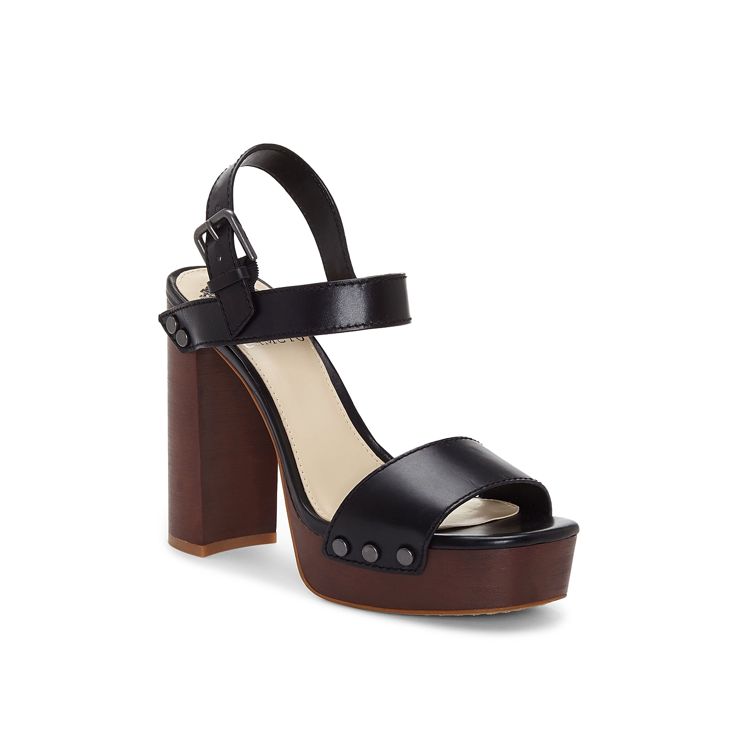 Channel your inner fashionista with the Lethalia sandal from Vince Camuto. This two-piece silhouette is fashioned with studded accents and a towering heel for all the height!