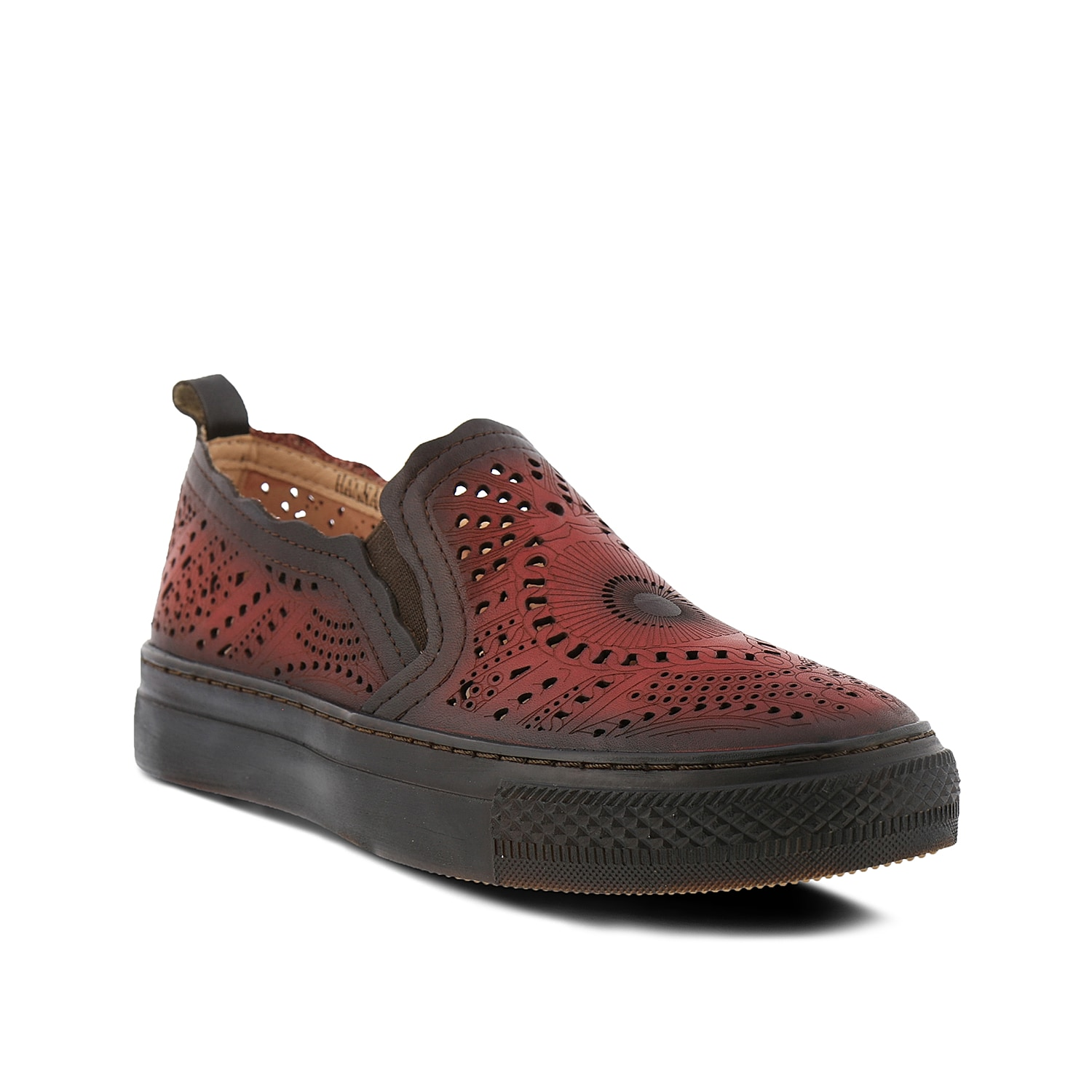 Sporty and artsy style come together in the Hanna slip-on sneaker from L\\\'Artiste by Spring Step. An intricate laser-cut design will take casual looks to the next level.