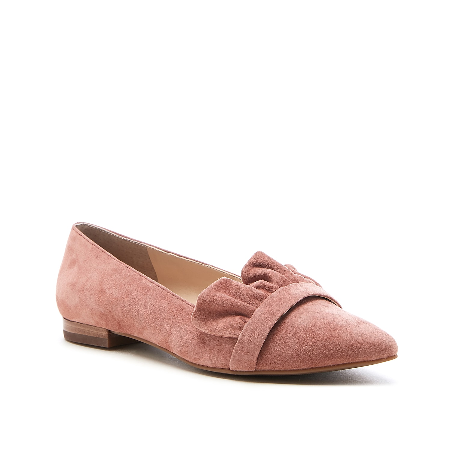 It\\\'s all feminine and fabulous in the Kamber loafer from Sole Society. Topped with a coordinating ruffle trim for a standout look, this loafer also has a sleek pointed toe and durable rubber sole with stacked heel.