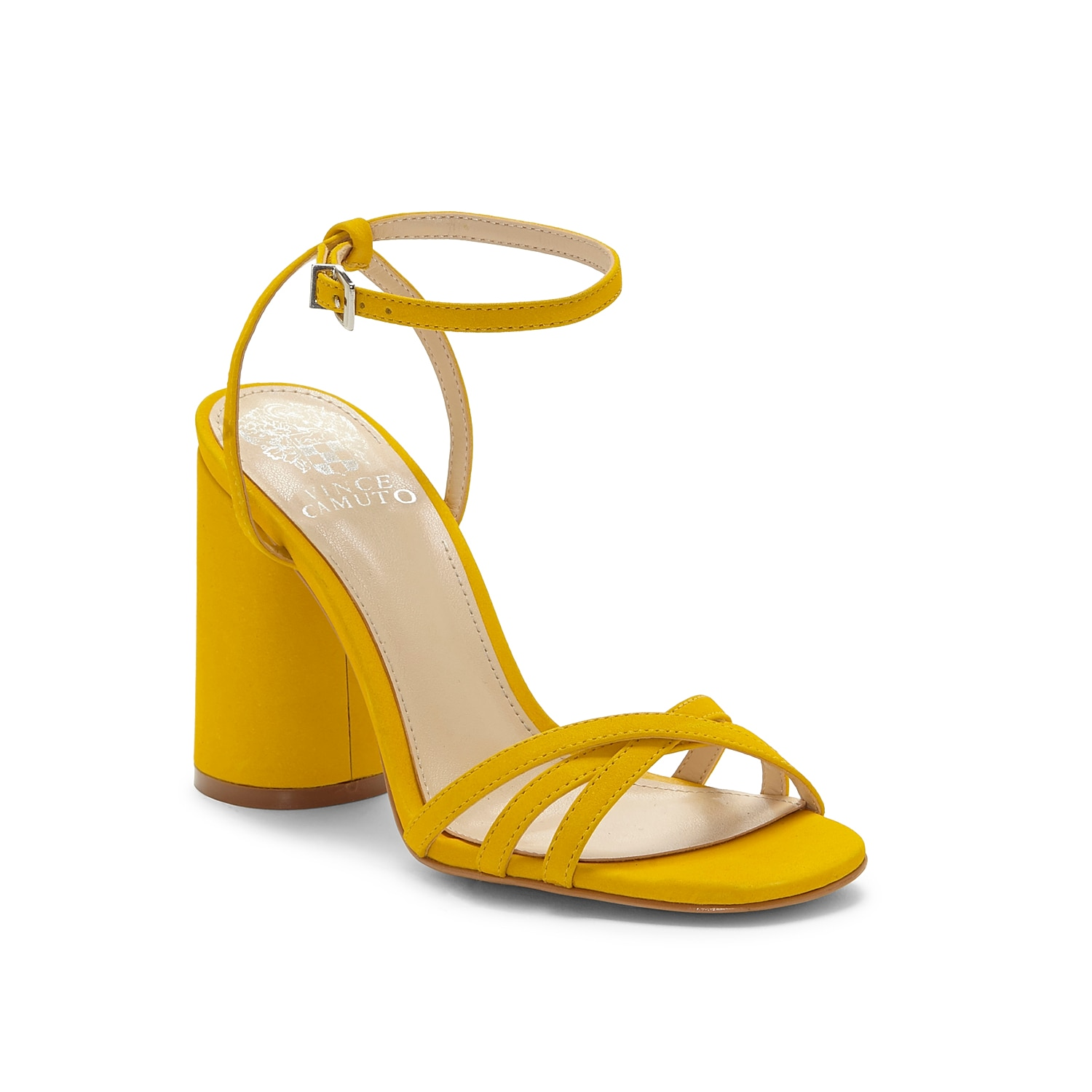Look fabulous from every angle in the Vince Camuto Kantiel sandal. Designed in a two-piece strappy profile, this ankle strap sandal flaunts an elegant square toe and high block heel.