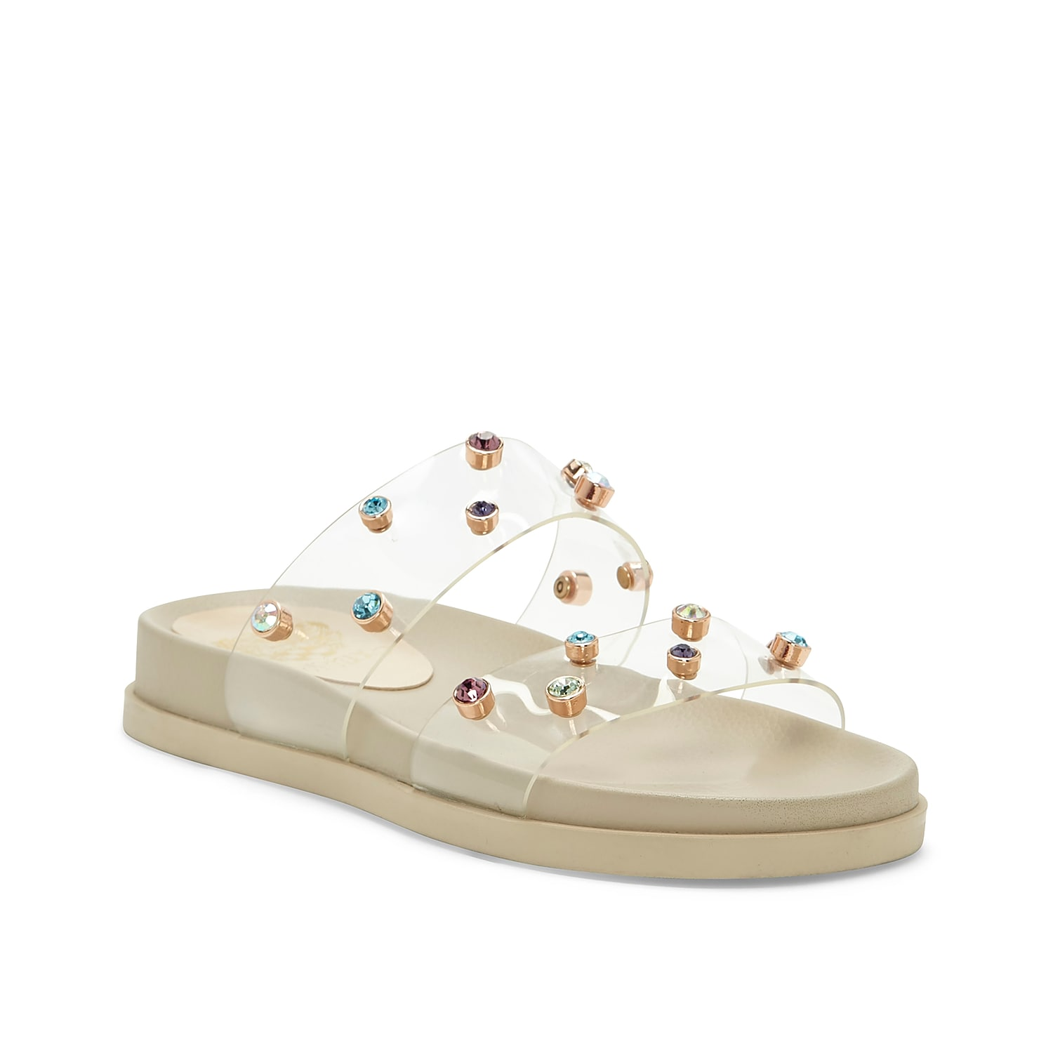 Complete your ensemble with the mesmerizing Partha sandal from Vince Camuto. With animal-printed and transparent straps, this sandal is sure to turn heads with its bedazzled decorations.