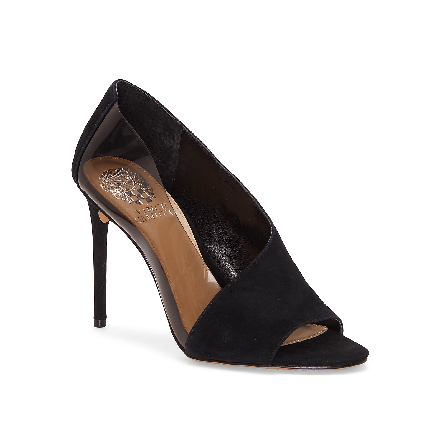You\\\'ll be sure to catch eyes in the Rivestan pump from Vince Camuto. This stiletto features d\\\'Orsay-inspired styling with an exterior lucite panel for bold appeal.