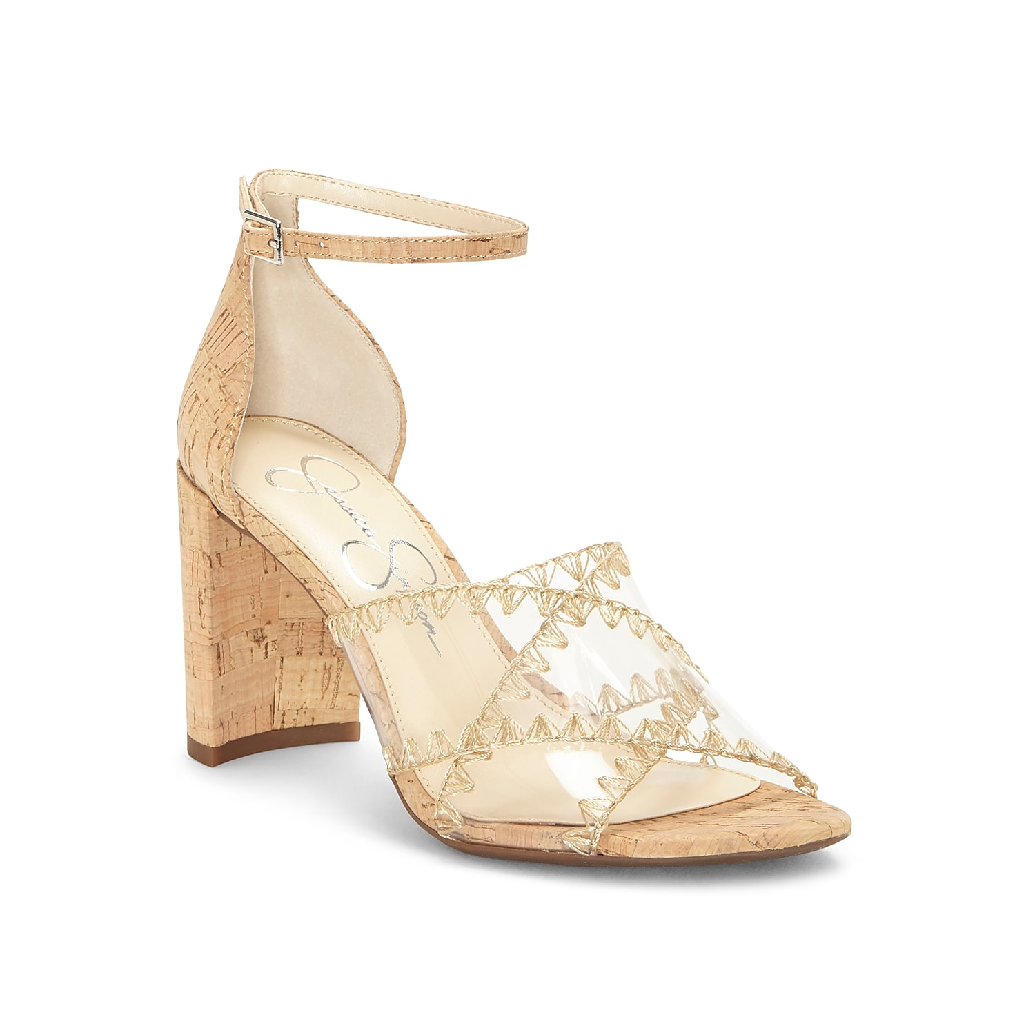 Keep your looks trending with the Nikaye sandal from Jessica Simpson. This silhouette is fashioned with lucite crisscross straps and a thin ankle strap for secured steps!
