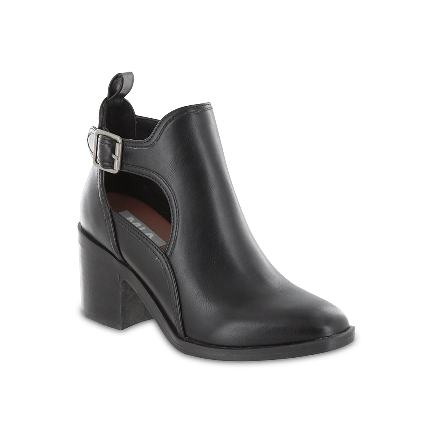 Bring a fierce flair to your summer or spring outfit with the Mia Eden bootie. Made of animal printed upper, this bootie showcases side cut-outs and modest block heel that take the style several notches up.