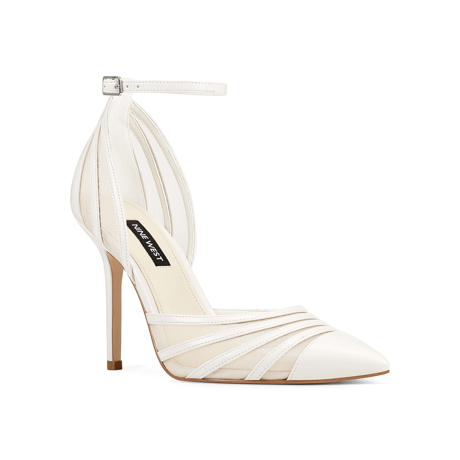 Dress up your ensemble in high fashion with the Beck 3 pump from Nine West. This eye-catching pair is fashioned with a mixed faux leather and mesh upper with a thin ankle strap for secured steps!