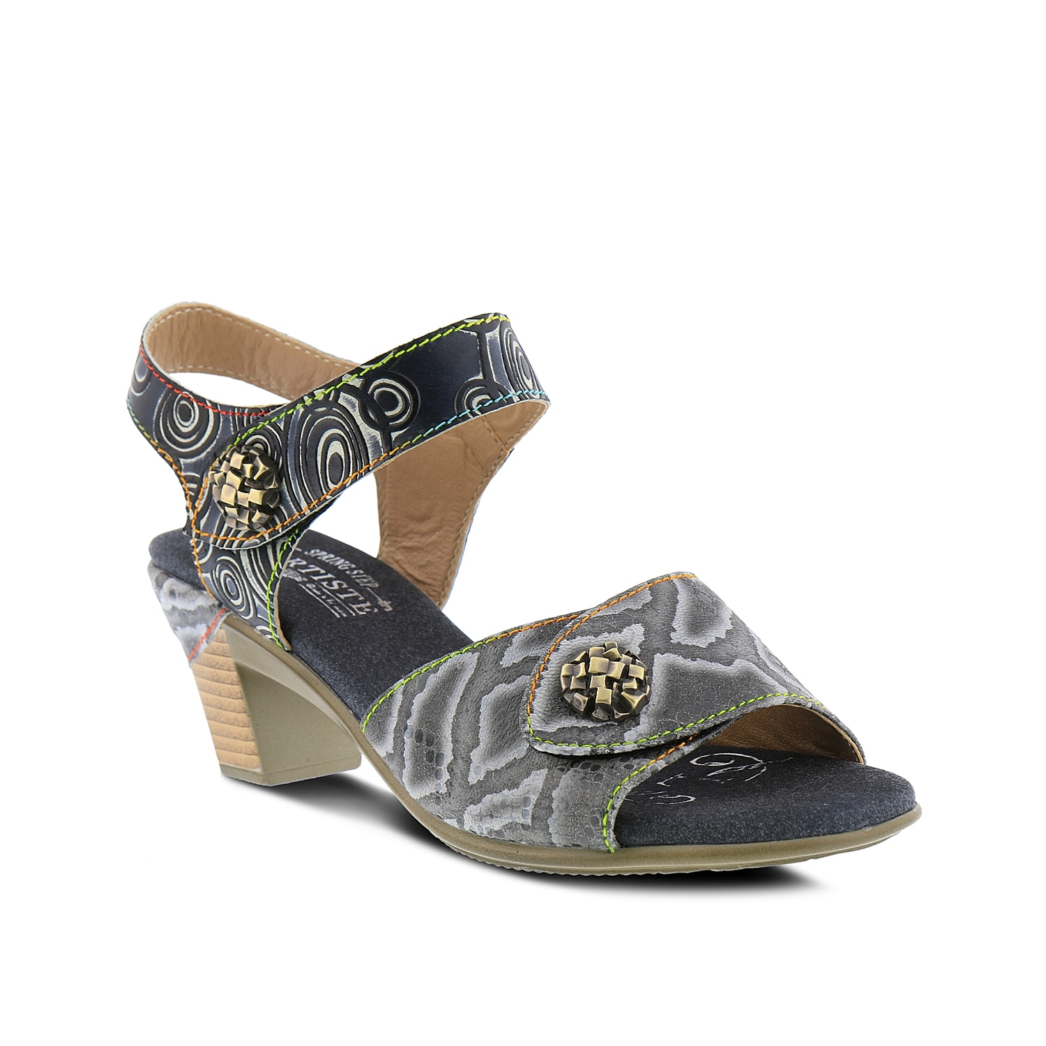 Add a unique finish to any outfit with the Alluroe sandal from L\\\'Artiste by Spring Step. Rainbow stitching, ornamental details, and a hand-painted leather upper set this two-piece apart from the crowd.