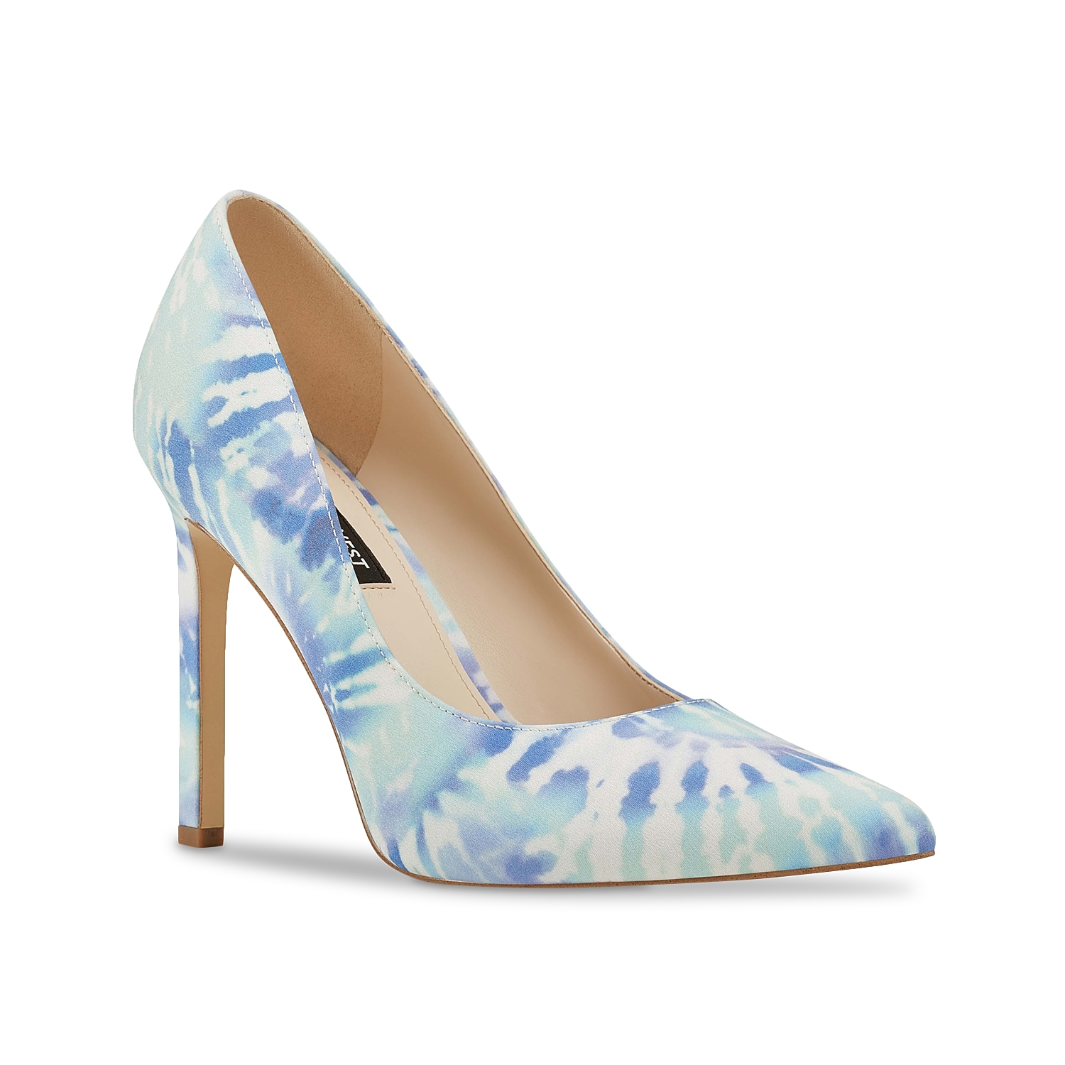 Amp up any outfit with the Tatiana 2 pump from Nine West. With a towering stiletto and tie dye print, this pointed toe pair will complement anything from short dresses or distressed jeans.