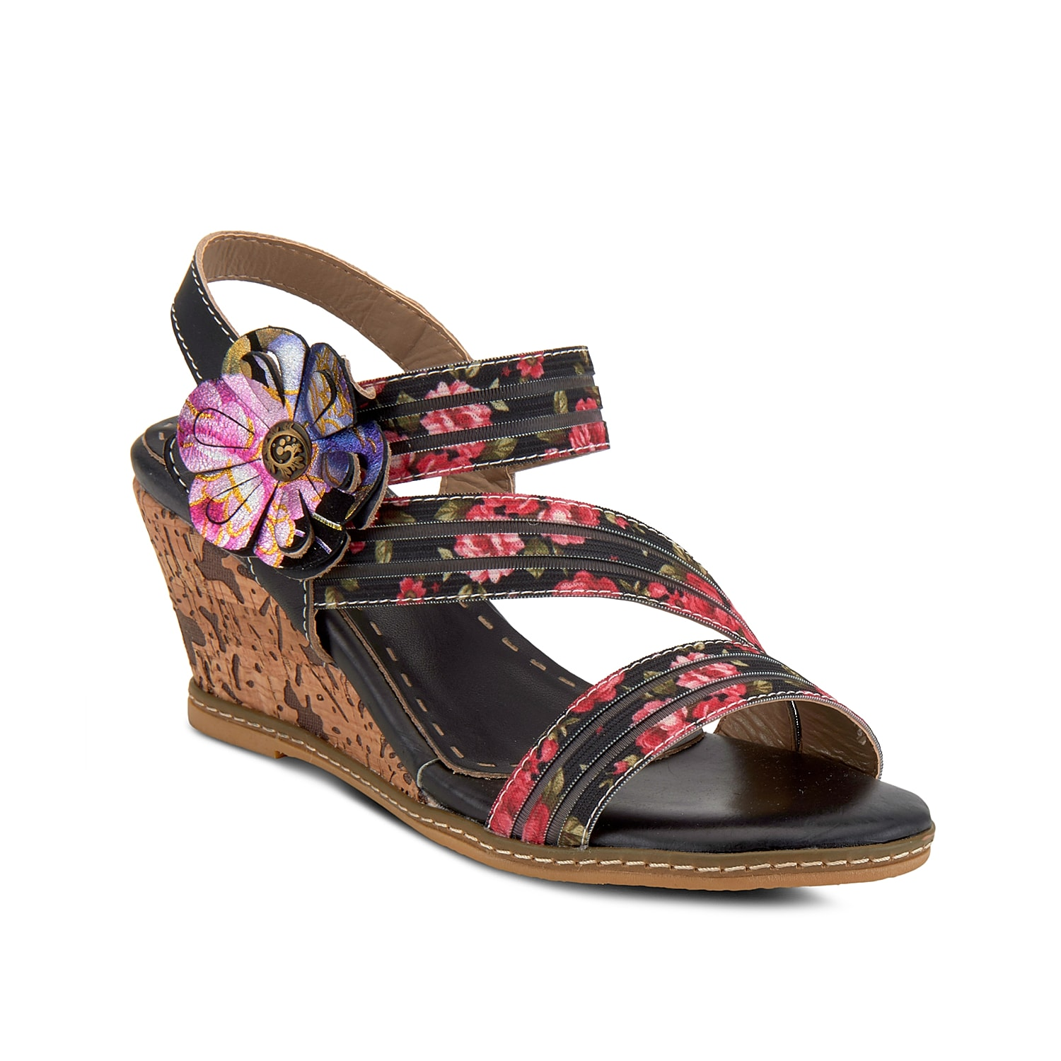 The Landy wedge sandal from L\\\'Artiste by Spring Step will freshen up all your warm weather looks. With an oversized floral applique and textured cork heel, this strappy pair complements dresses or capris effortlessly.