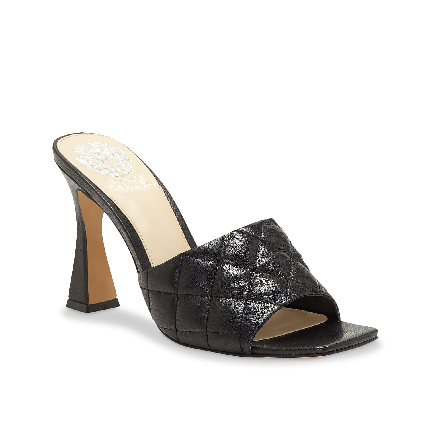 Take your chic style to the next level with the Reselm sandal from Vince Camuto. This pair features a quilted leather upper, flared heel, and square toe for trendy appeal.