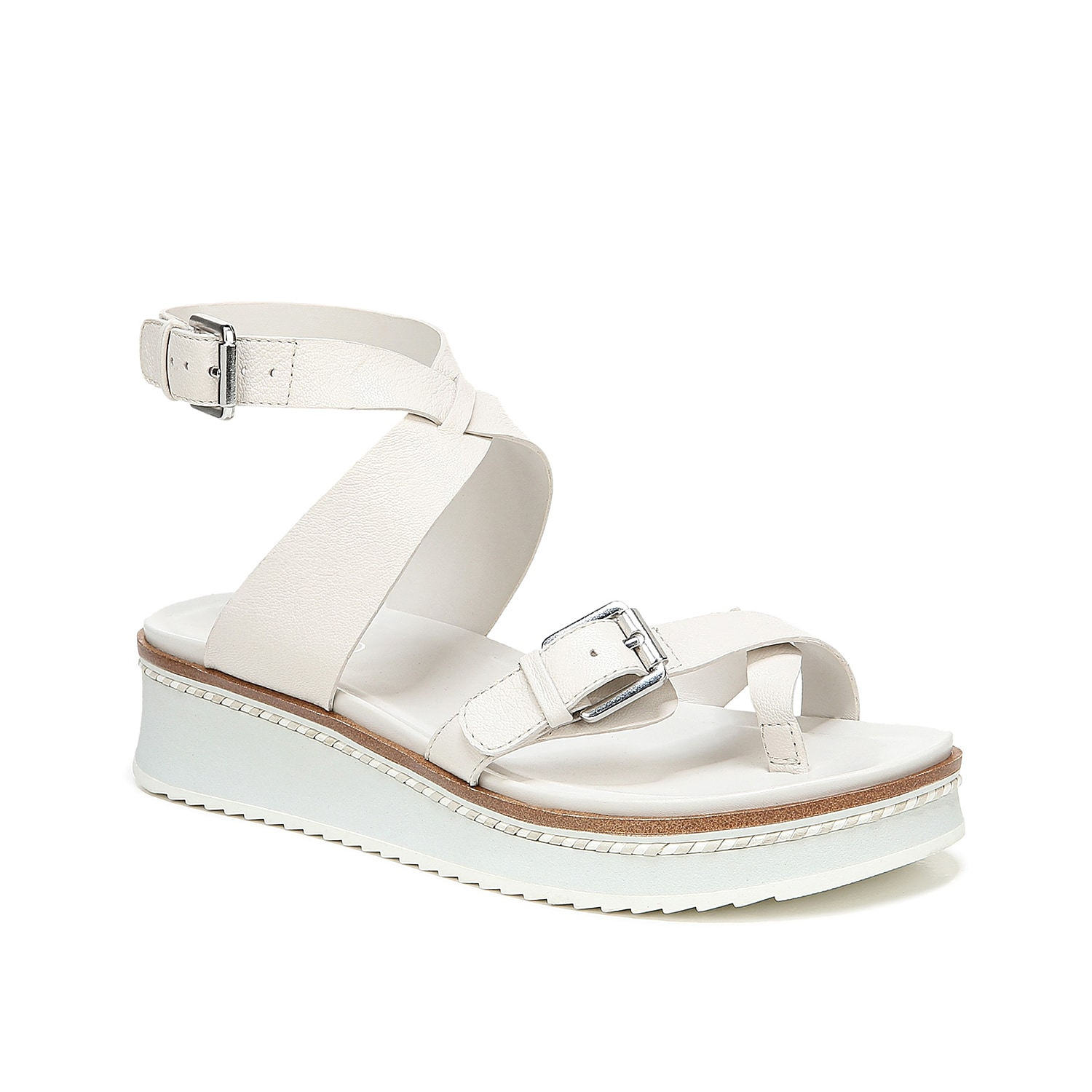Strapped high around the ankle for a no-slip fit, the Eli sandals from Franco Sarto showcase an athletic vibe that\\\'s completed with a white sawtooth sole. A toe ring loop looks iconic.