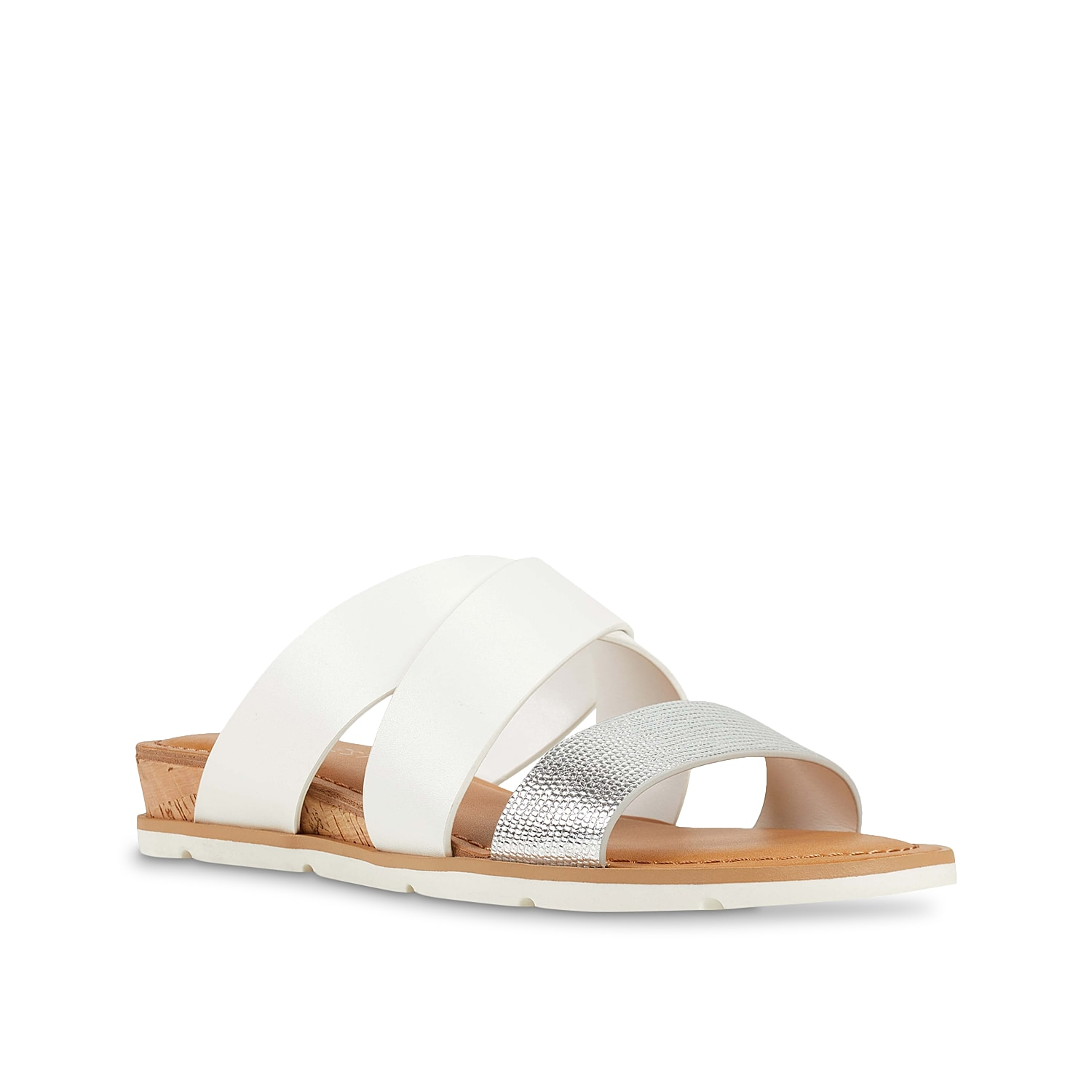 The Desiree wedge sandal from Nine West gives you a great sense of fashion. This silhouette features a textural toe strap and cork heel for extra style points!