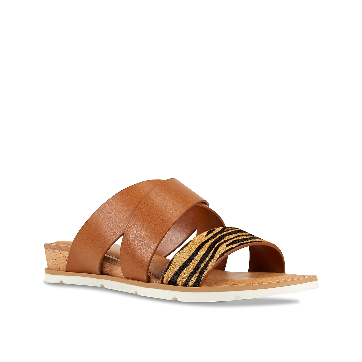 The Desiree wedge sandal from Nine West gives you a great sense of fashion. This silhouette features an animal printed toe strap and cork heel for extra style points!