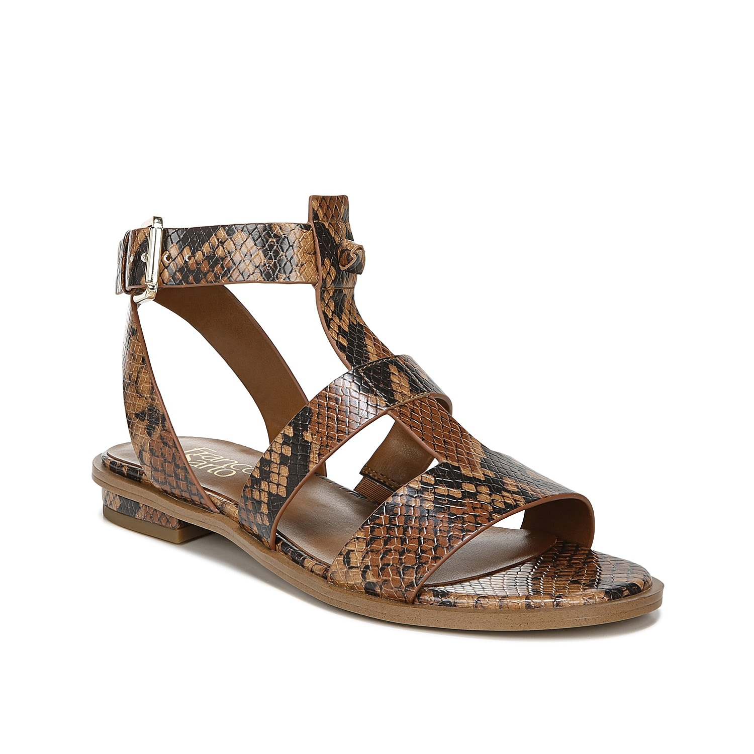 A modern gladiator design, the Moni sandals from Franco Sarto are fitted with an ankle cuff and T-strap upper. A slight heel provides a subtle boost.