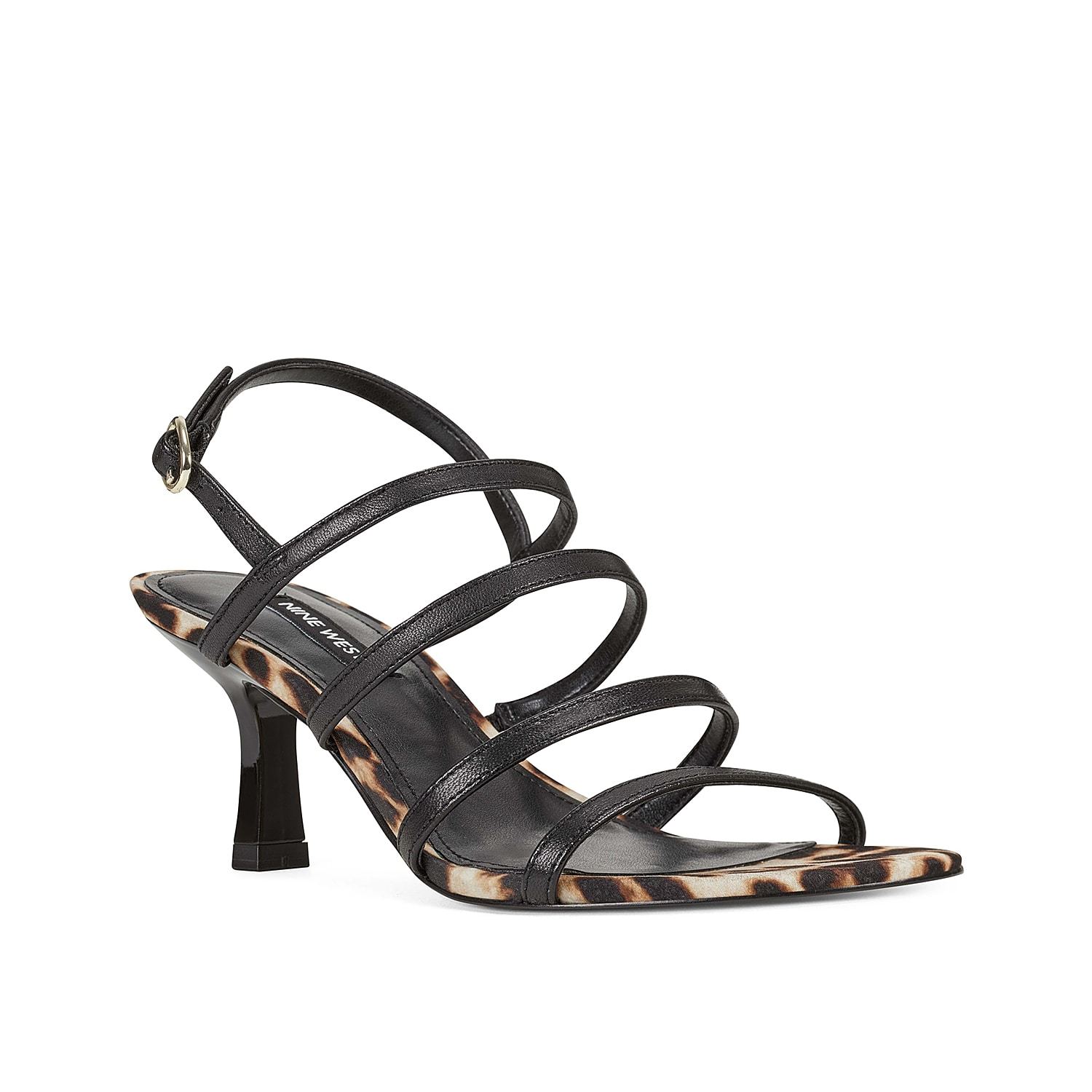 Upgrade your shoe collection with the Smooth sandal from Nine West. This silhouette is fashioned with multiple barely-there straps and the right amount of height for your Gno!