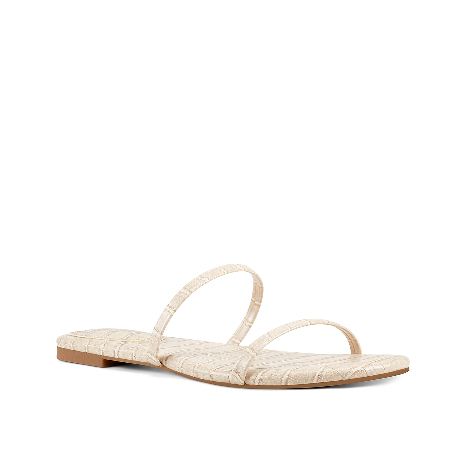 Keep up with your cutesy style with the Blaise sandal from Nine West. This silhouette is fashioned with dual thin straps and a textural croc print for added interest!