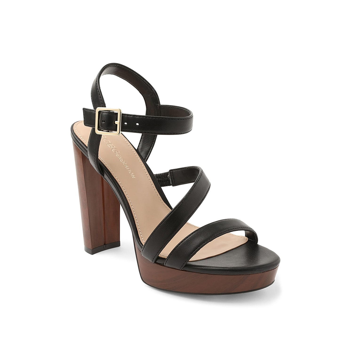 Make a style statement in the Onnia platform sandal from BCBGeneration. A towering faux wood heel and strappy upper give this pair a retro finish.