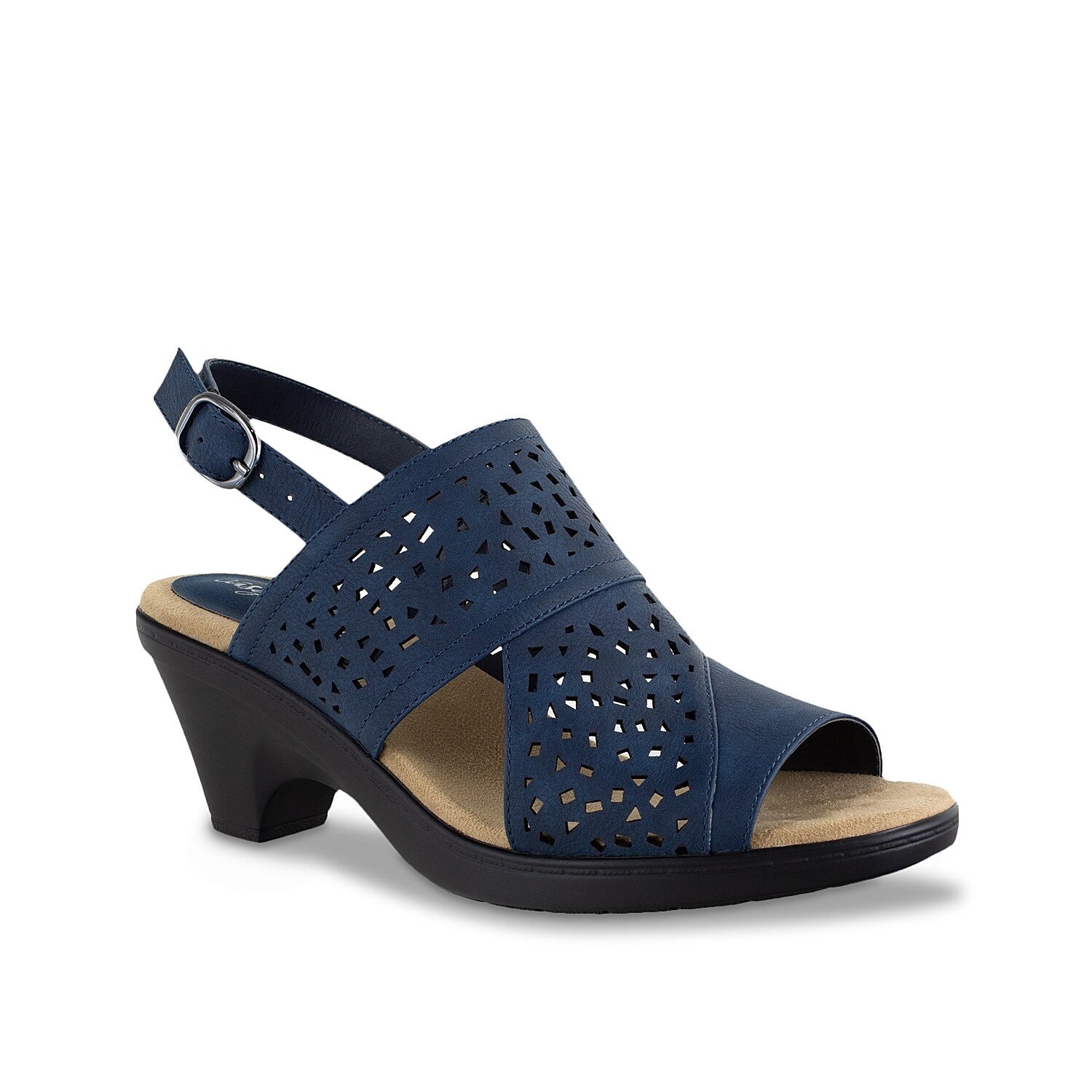 Fulfill your shoe requirements with the Charleigh sandal from Easy Street. This silhouette is fashioned with a laser-cut upper and cushioned footbed for daylong wear.