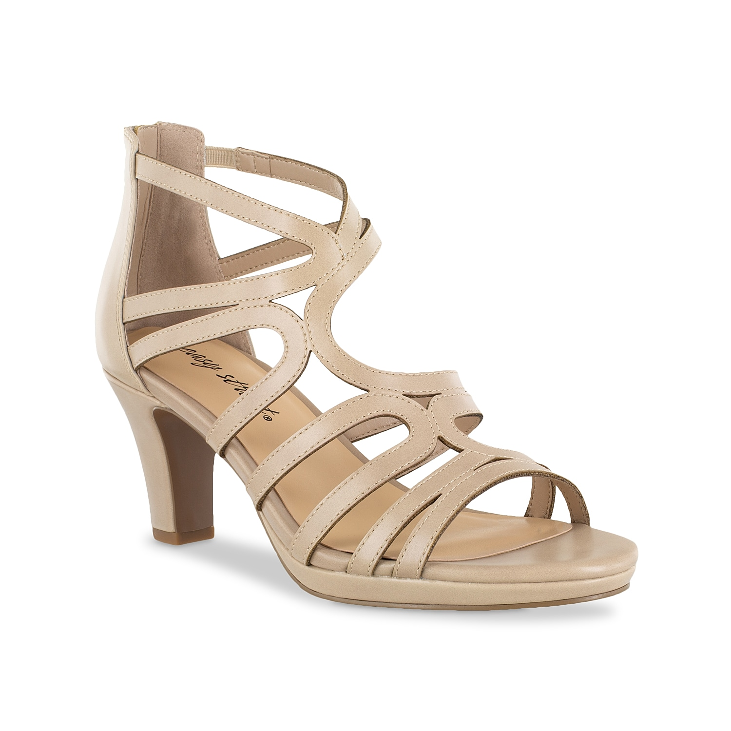 Walk the walk and talk the talk when wearing the Elated sandal from Easy Street. This silhouette is fashioned with a strappy upper and a back zipper closure for easy on-and-offs!