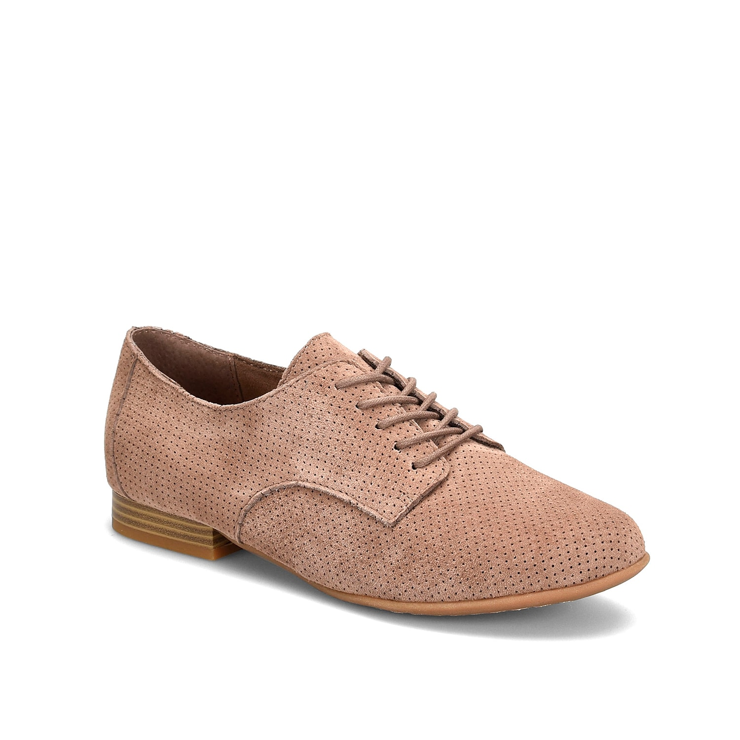 The Camilla Oxford by b.o.c. Born Concept infuses chic elegance into a timeless profile. Made of suede, this shoe is updated with perforated upper, embossed outsole and modest stacked heel.