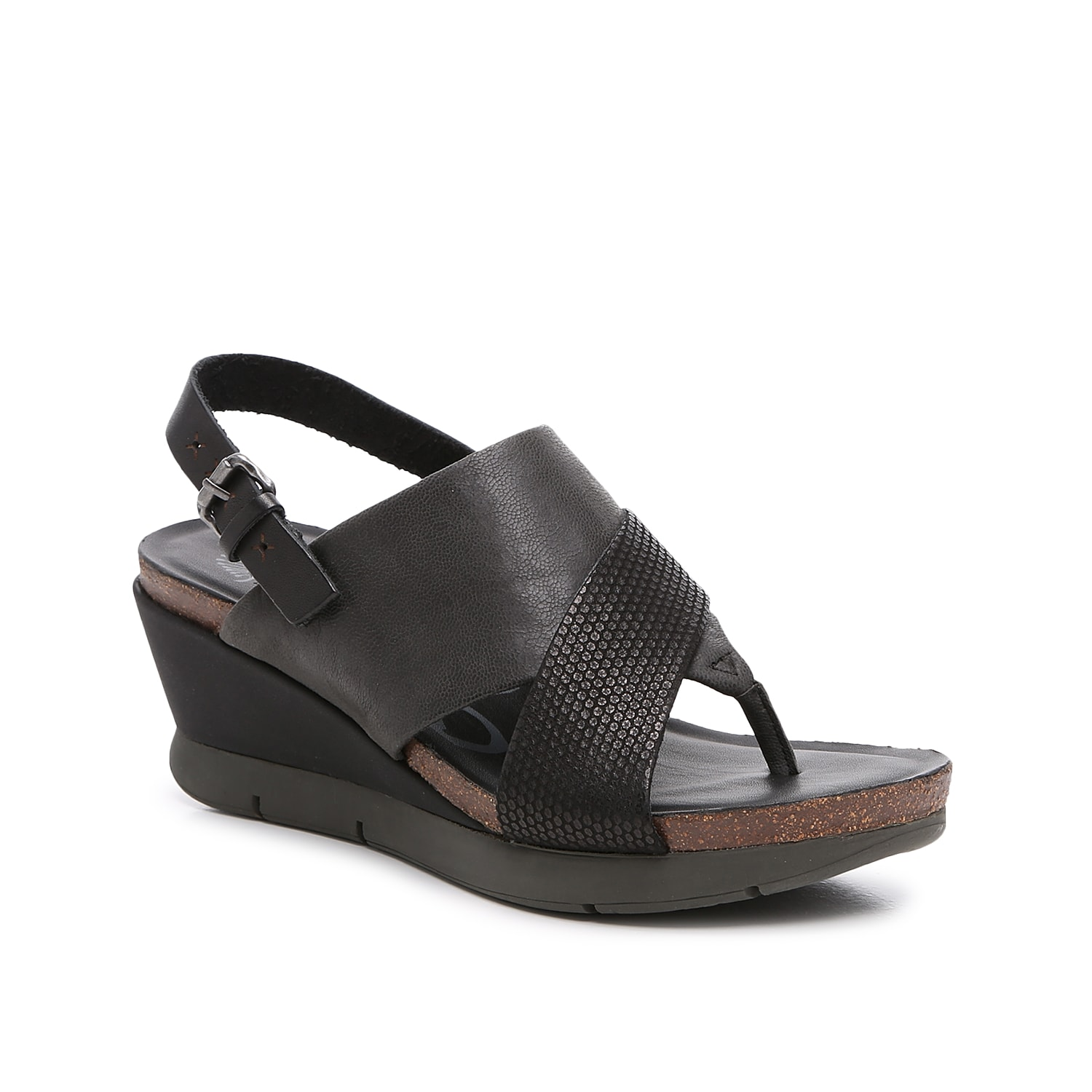 Make fashion forward moves in these In Focus wedges from Otbt. A leather design with light embossing and an athletic-style outsole make this sandal an easygoing mix of trends.