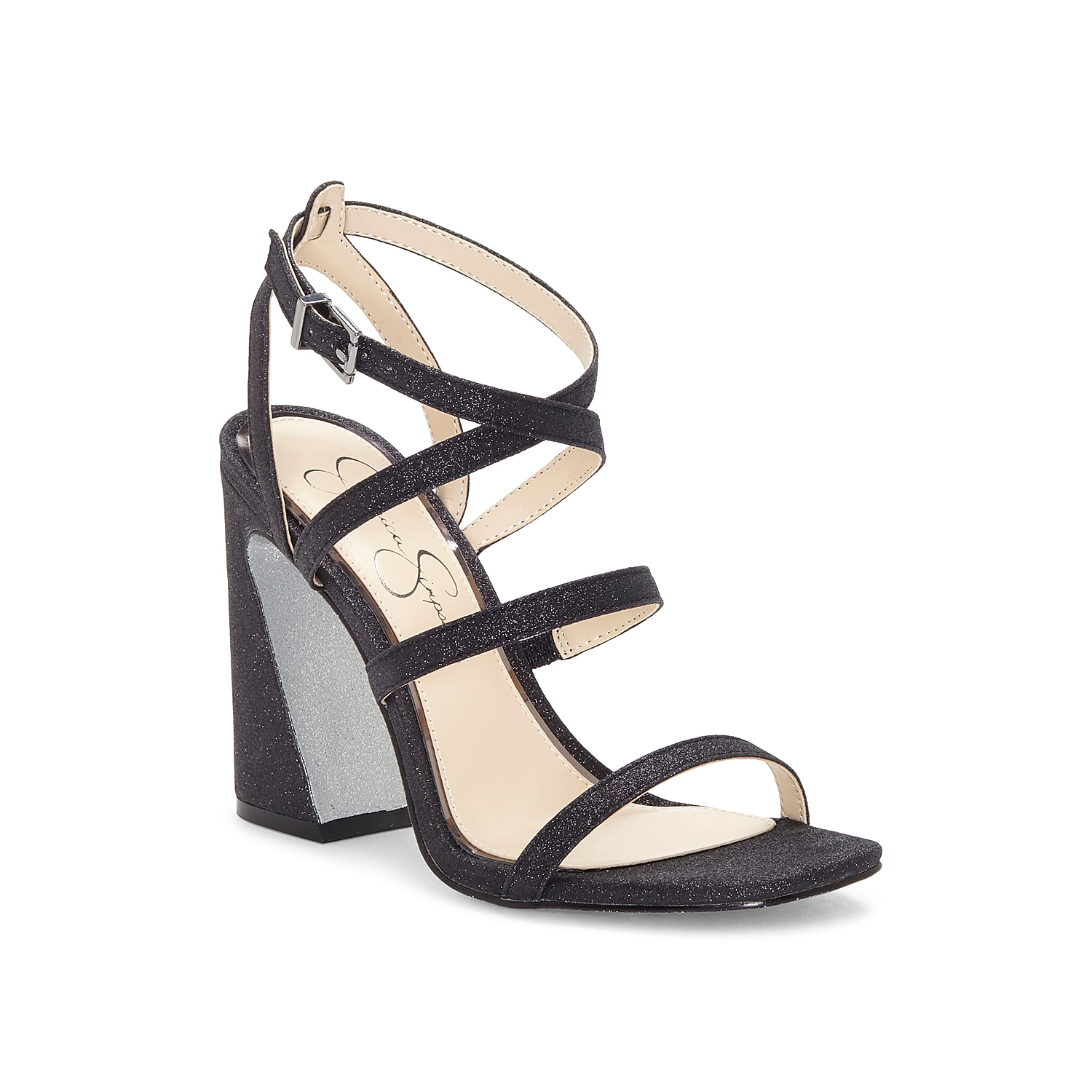 Give your ensemble the right amount of style with the Raymie sandal from Jessica Simpson. This silhouette is fashioned with a glitter upper and a flared block heel for extra trend points!