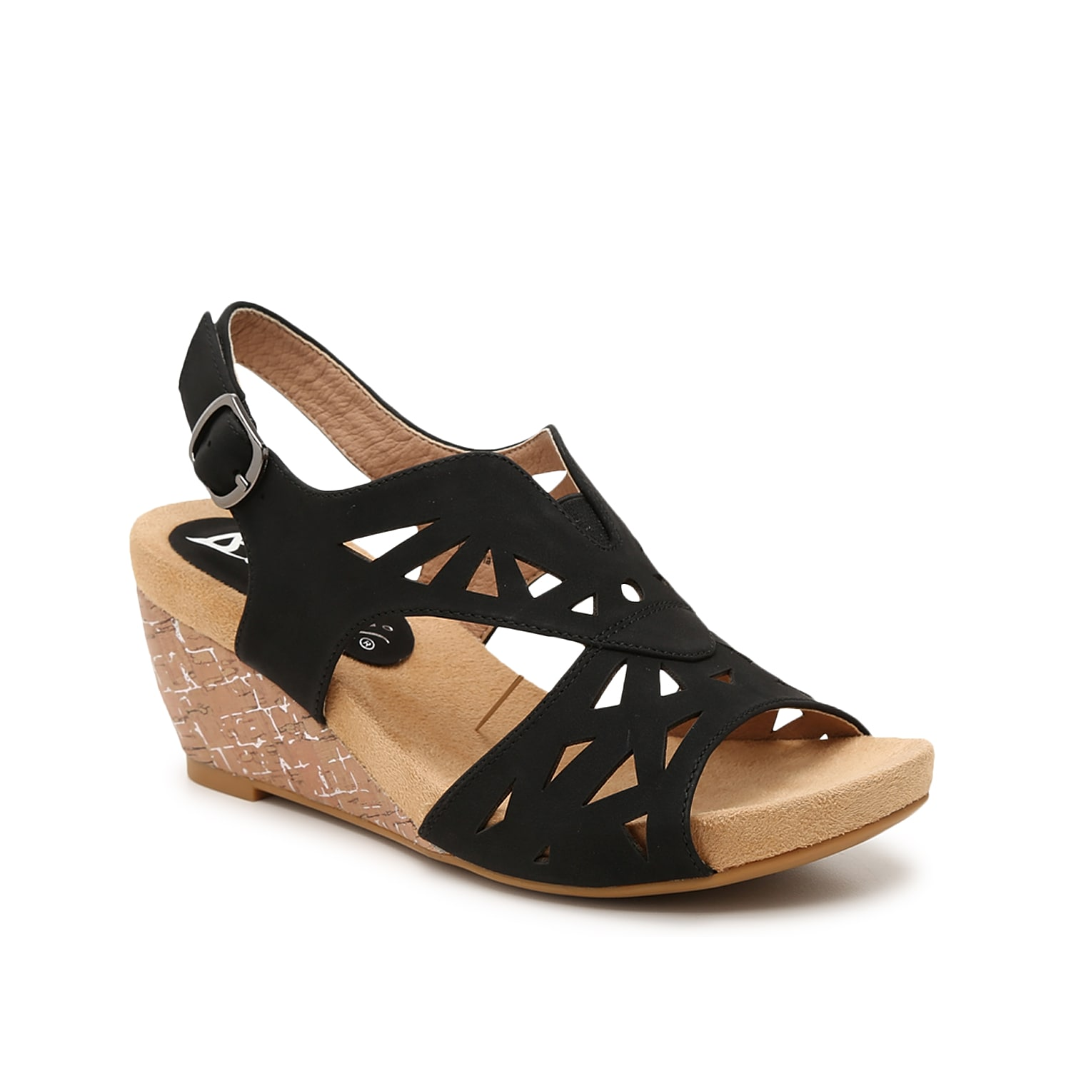 Feel as good as you look in the Beauty wedge sandals from Bellini. This pair features a laser-cut upper with triangle shapes and metallic detailing in the cork-covered heel.