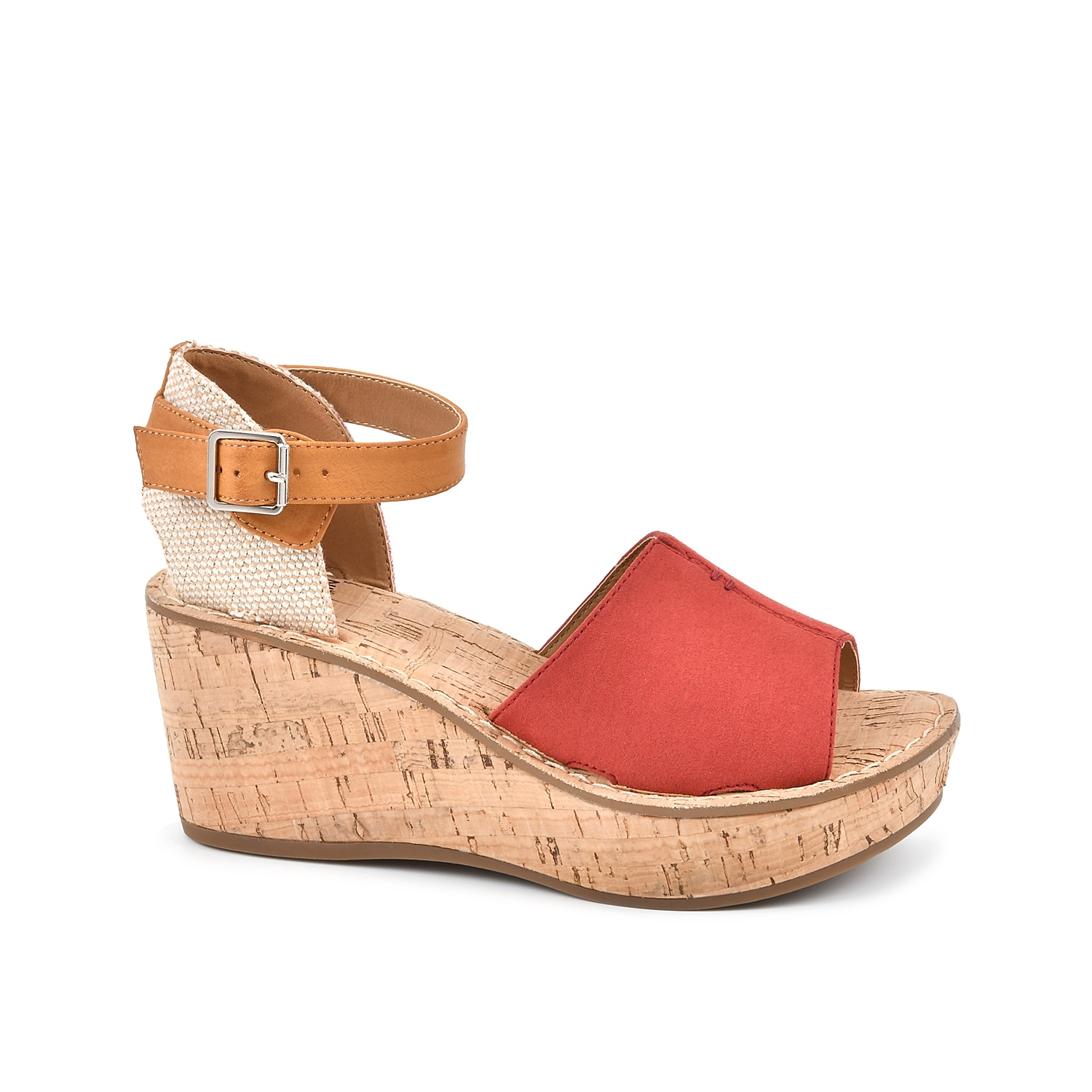 Your warm weather style will get an instant upgrade with the Sarabella wedge sandal from White Mountain. This two-piece features a cork wedge and trendy ankle strap for versatile appeal.