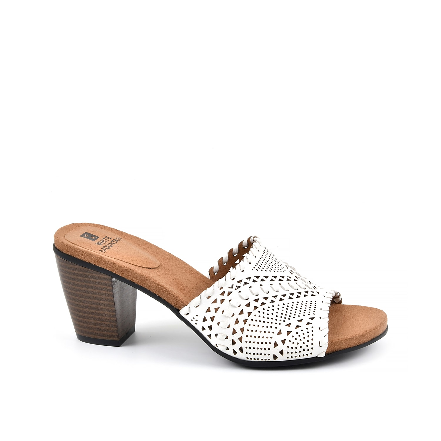 Slide into the Sherman sandal from White Mountain for modern appeal. This pair features a laser-cut upper and chunky block heel that will complement all your maxi dresses or midi skirts.