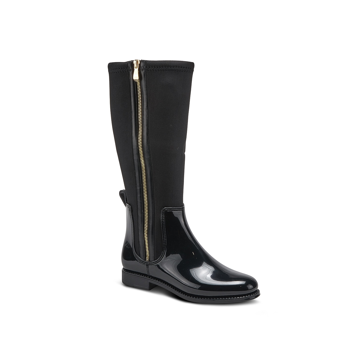 Stay fashionable and dry in inclement weather in the Puddeli rain boot by Spring step. This tall boot is styled with full zipper closure for a snug fit and pull tab at the back for convenient wearing.Click here for Boot Measuring Guide.