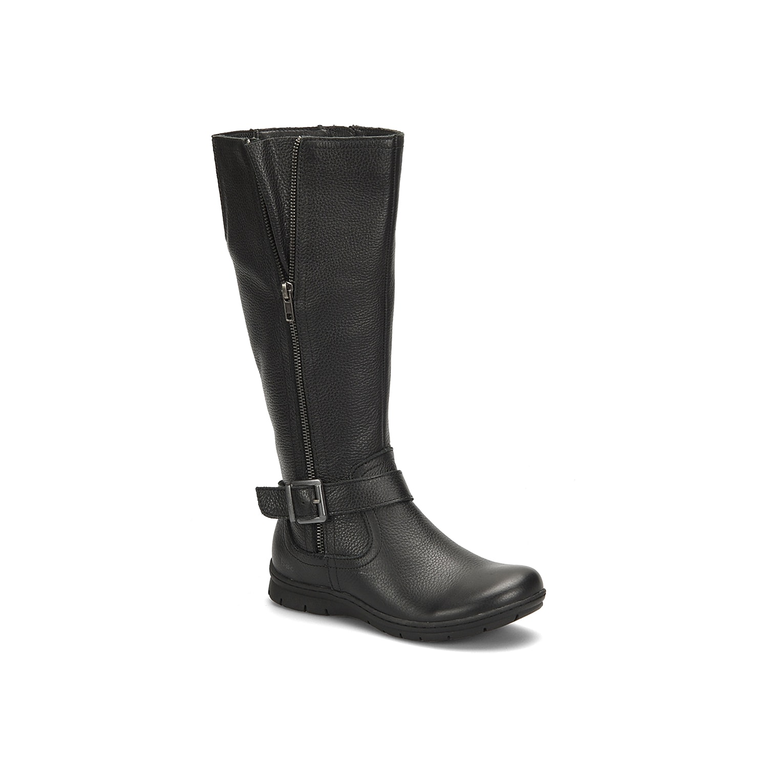 Sleek and stylish, the Pauline riding boot from Born Concept is a cold weather favorite. Made of full grain leather, this tall boot features wraparound buckle strap at the ankle, dual-sided zippers and elastic panel at the back.Click here for Boot Measuring Guide.