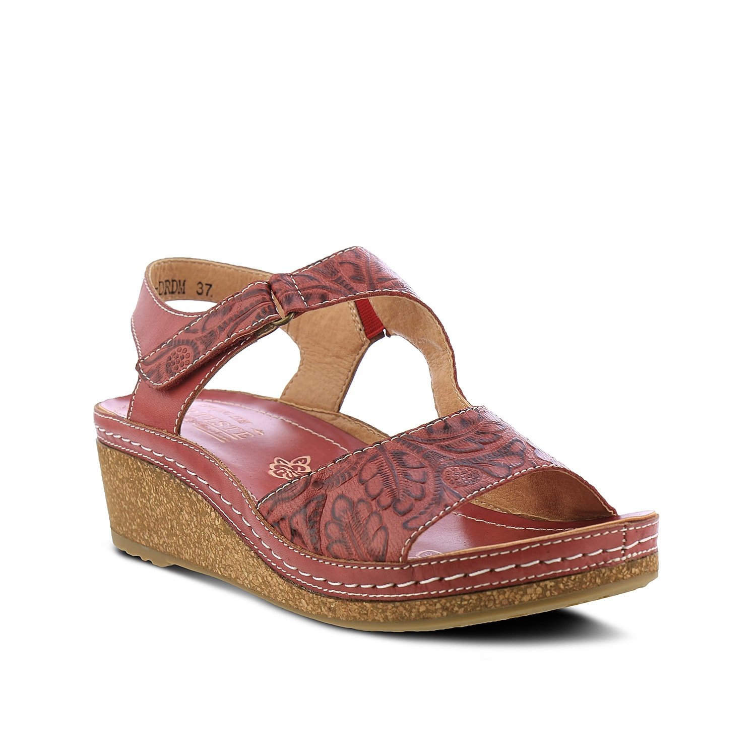 Exquisite details and engaging comfort is what makes the L\\\'Artiste by Spring Step Zeta wedge sandal a unique pick. The French-inspired wedge sandal boasts of gorgeous hand-painted details, floral-embossed pattern, coordinating stitching details- all supported with a cork-infused wedge heel.