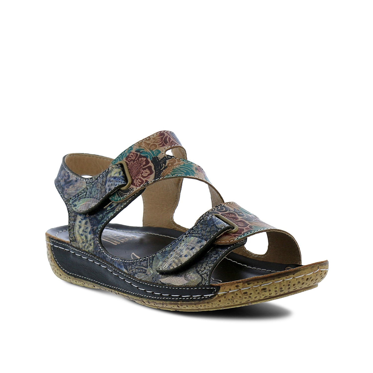 Add artistic appeal to your warm weather looks with the Symphony wedge sandal from L\\\'Artiste by Spring Step. Floral embossing on the strappy upper will be sure to catch eyes.