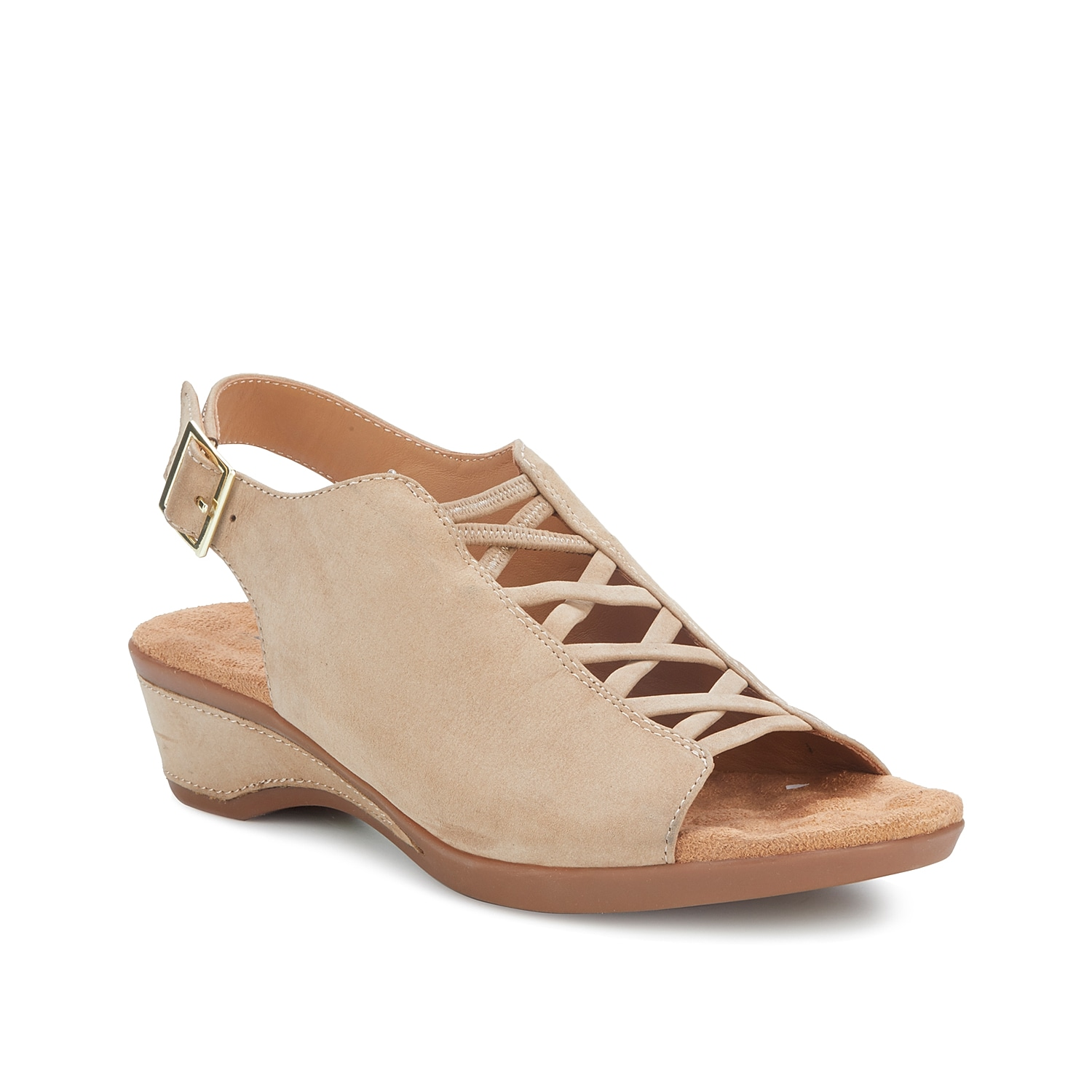 Once you buckle into the Kody wedge sandal from Walking Cradles, you\\\'ll want to wear them everyday! A Tiny Pillows footbed cushions every step while the corset accent adds modern style.