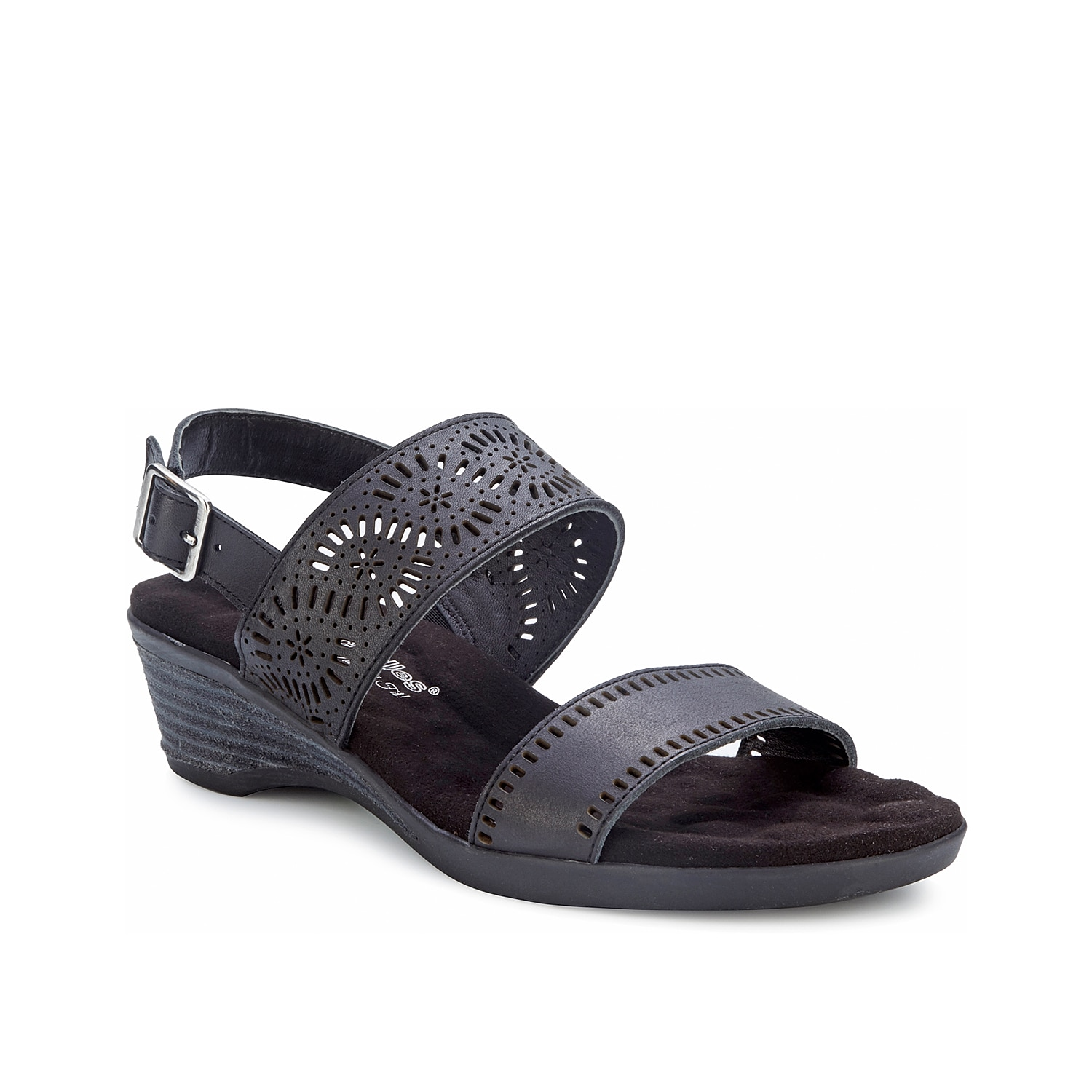 Featuring a Tiny Pillows footbed, the Krissy wedge sandal from Walking Cradles will keep you feeling your best. Laser-cut leather straps add a modern finishing touch to this slingback.