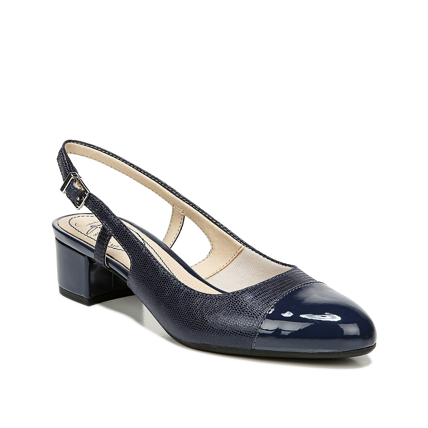 Turn your office attire up a notch with the Everdeen pump from LifeStride. The smooth upper and round cap toe will pair with a midi skirt and ruffled blouse!