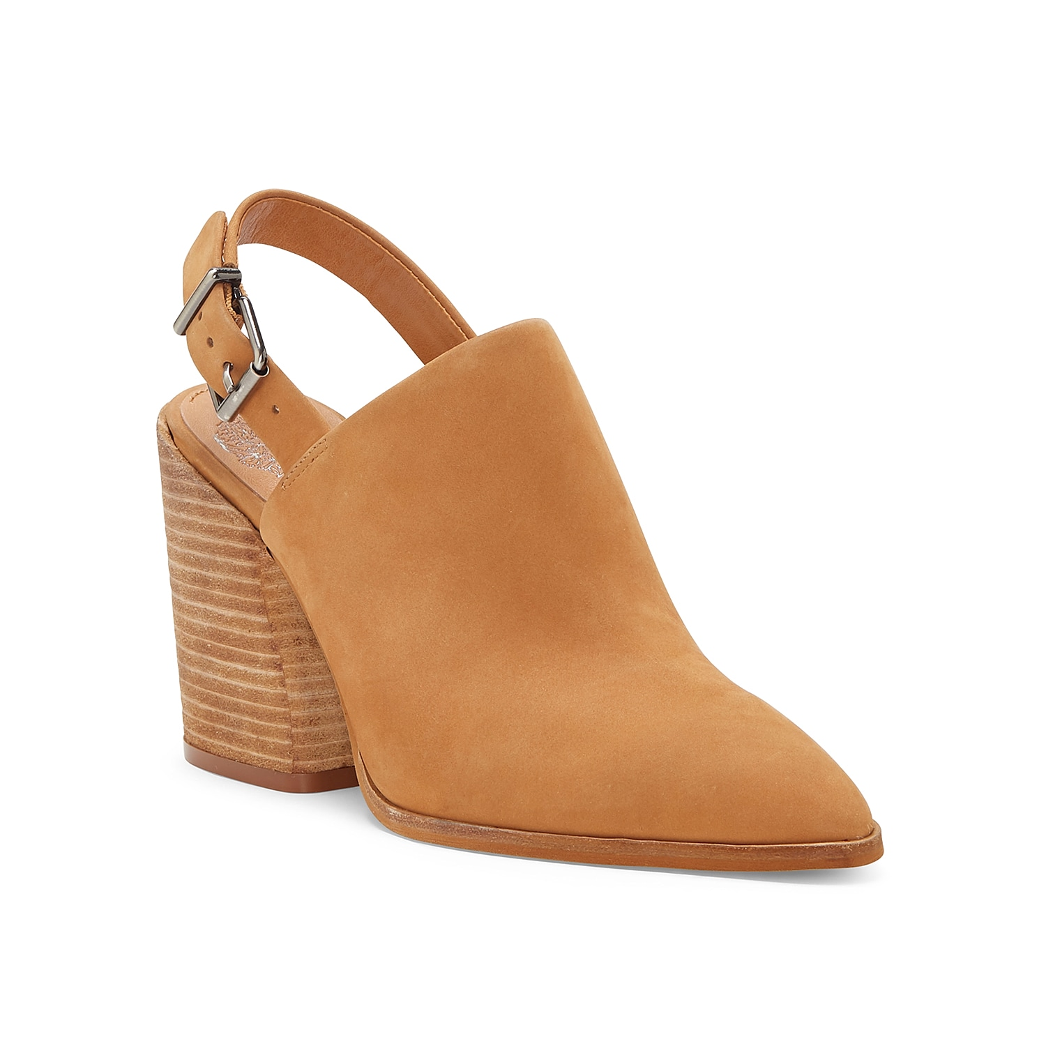 Add an instant boost to your shoe collection with the Chemine mule from Vince Camuto. This silhouette is fashioned with a soft nubuck leather upper, secured slingback strap, stacked heel for sturdy struts!