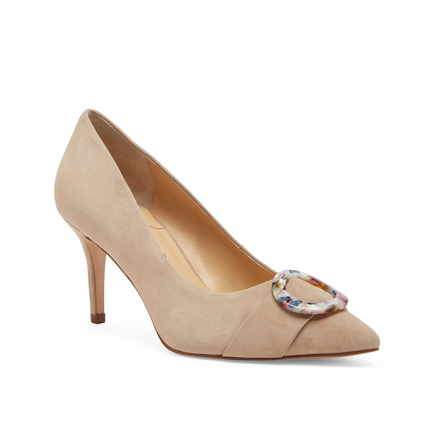 Tailored looks just got more sophisticated with the Ronya pump from Sole Society. This suede pair features an acrylic ring accent at the pointed toe for added style.