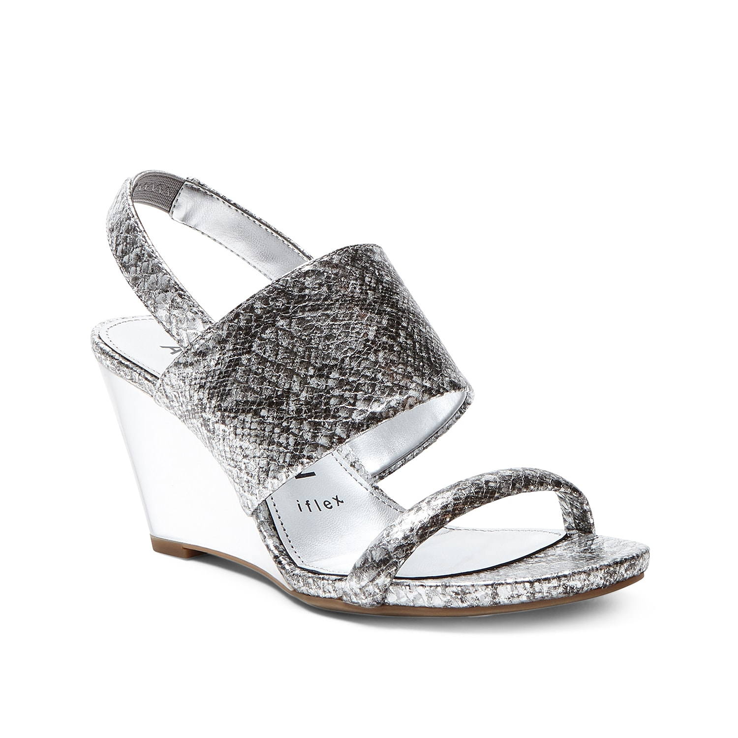 Complement your evening look with the Gently wedge sandal by Anne Klien. The Iflex technology offers up to 90-degree flexibility for all-day comfort, while the lucite wedge heel offers a fashionable lift.