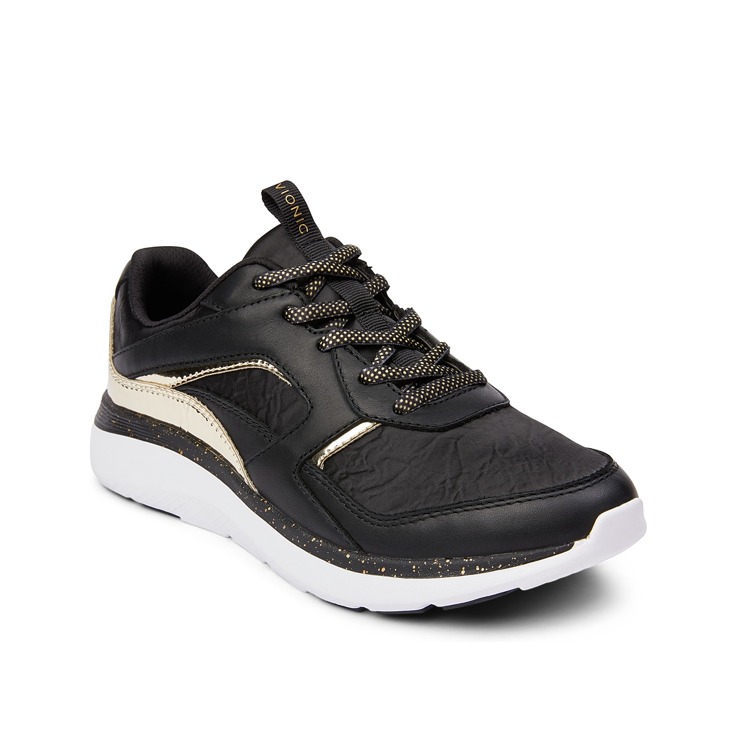 Go the extra mile in the women\\\'s Adela walking shoe from Vionic. This leather sneaker features a removable cushioned insole, thick EVA midsole, and durable rubber sole for lasting support.