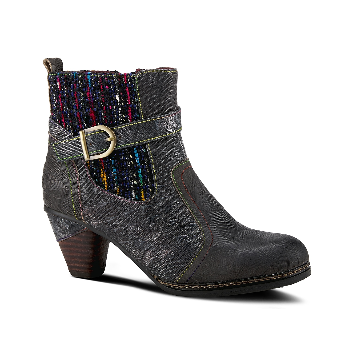 With the right amount of whimsical twist, the L\\\'Artiste Cienna bootie is sure to create a lasting impression. Metallic and colorful textile shaft gives a lively touch to the laidback tooled and burnished upper while a padded insole lends you all the comfort you need.Click here for Boot Measuring Guide.