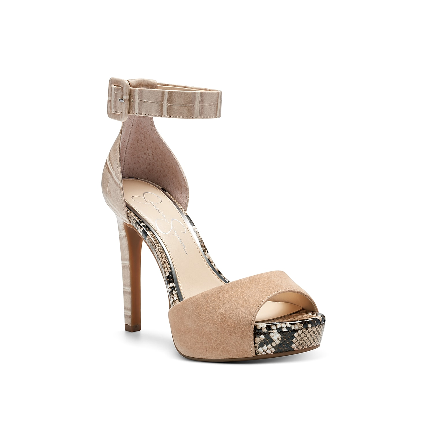 Take your style to new heights with the Divene platform sandal from Jessica Simpson. Featuring mixed prints, a croc embossed stiletto, and thick ankle strap, this two-piece will be sure to catch eyes.